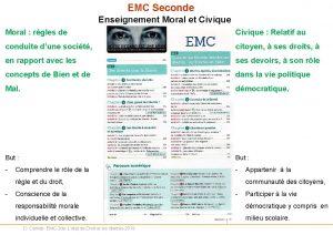 EMC Seconde Enseignement Moral et Civique Moral rgles