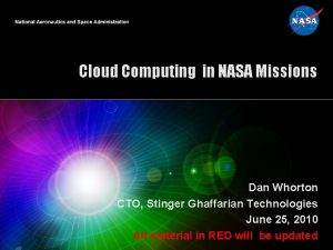 Cloud Computing in NASA Missions Dan Whorton CTO