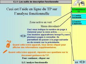 C i 1 Les outils de description fonctionnelle