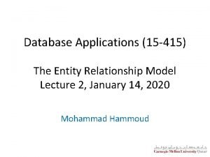 Database Applications 15 415 The Entity Relationship Model