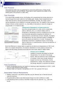 Data Retention Bake Test Purpose Data Retention Bake