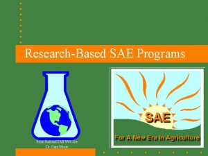 ResearchBased SAE Programs From National SAE Web Site