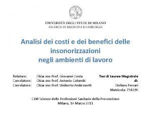 Analisi dei costi e dei benefici delle insonorizzazioni