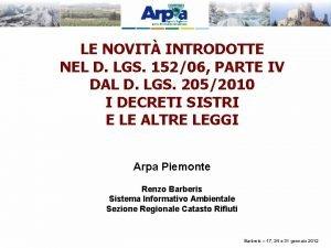 LE NOVIT INTRODOTTE NEL D LGS 15206 PARTE