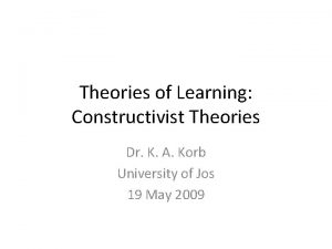 Theories of Learning Constructivist Theories Dr K A