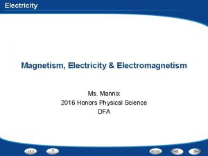 Electricity Magnetism Electricity Electromagnetism Ms Mannix 2016 Honors
