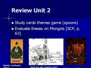 Review Unit 2 Study cards themes game spoons