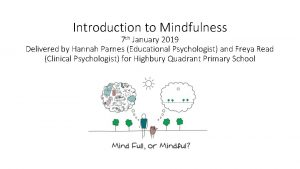 Introduction to Mindfulness 7 th January 2019 Delivered