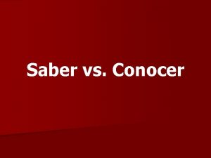 Saber vs Conocer saber to know facts or