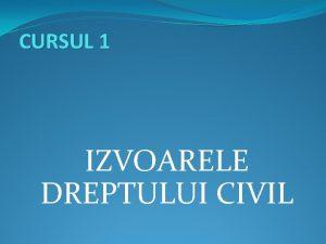 CURSUL 1 IZVOARELE DREPTULUI CIVIL Structura cursului Izvoarele