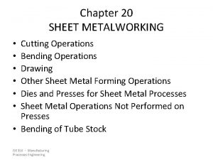 Chapter 20 SHEET METALWORKING Cutting Operations Bending Operations