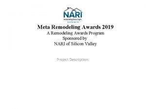 Meta Remodeling Awards 2019 A Remodeling Awards Program