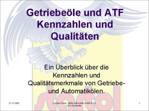 Getriebele und ATF Kennzahlen und Qualitten Ein berblick