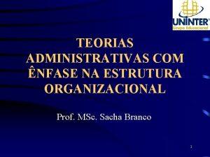 TEORIAS ADMINISTRATIVAS COM NFASE NA ESTRUTURA ORGANIZACIONAL Prof