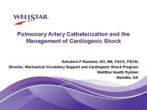 Pulmonary Artery Catheterization and the Management of Cardiogenic
