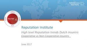 Reputation Institute High level Reputation trends Dutch insurers
