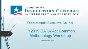 Federal Audit Executive Council 1 FY 2019 DATA