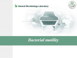 General Microbiology Laboratory Bacterial motility Introduction to bacterial