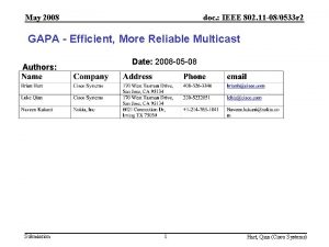 May 2008 doc IEEE 802 11 080533 r