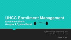 UHCC Enrollment Management Enrollment Efforts Campus System Based