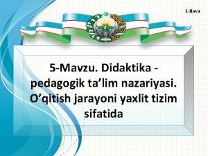 1 ilova 5 Mavzu Didaktika pedagogik talim nazariyasi