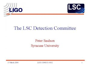The LSC Detection Committee Peter Saulson Syracuse University