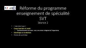 Rforme du programme enseignement de spcialit SVT Sance