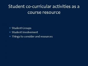 Student cocurricular activities as a course resource Student
