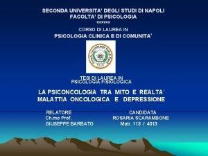 SECONDA UNIVERSITA DEGLI STUDI DI NAPOLI FACOLTA DI