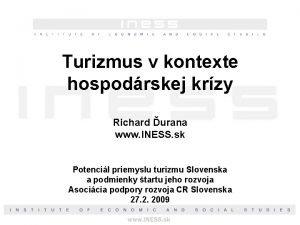 Turizmus v kontexte hospodrskej krzy Richard urana www