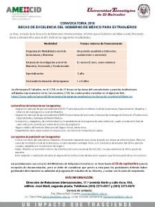 CONVOCATORIA 2018 BECAS DE EXCELENCIA DEL GOBIERNO DE
