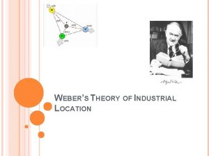 WEBERS THEORY OF INDUSTRIAL LOCATION ALFRED WEBER Alfred