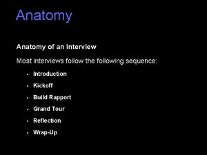 Anatomy of an Interview Most interviews follow the