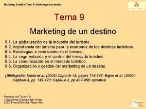 Marketing Turstico Tema 9 Marketing de un destino
