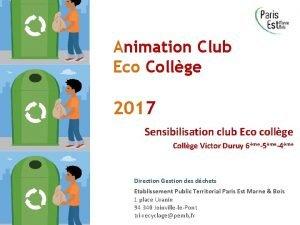 Animation Club Eco Collge 2017 Sensibilisation club Eco