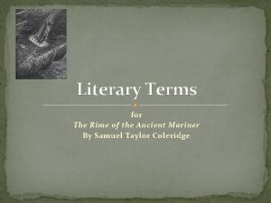 Literary Terms for The Rime of the Ancient