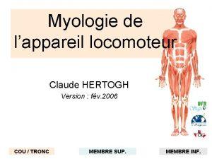 Myologie de lappareil locomoteur Claude HERTOGH Version fv