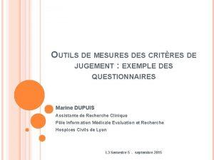 OUTILS DE MESURES DES CRITRES DE JUGEMENT EXEMPLE