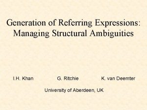 Generation of Referring Expressions Managing Structural Ambiguities I