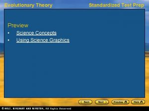 Evolutionary Theory Preview Science Concepts Using Science Graphics
