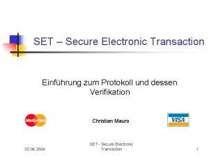 SET Secure Electronic Transaction Einfhrung zum Protokoll und