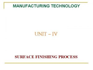 MANUFACTURING TECHNOLOGY UNIT IV SURFACE FINISHING PROCESS Manufacturing