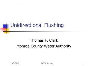 Unidirectional Flushing Thomas F Clark Monroe County Water