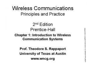 Wireless Communications Chapter 1 Introduction to Wireless Communication
