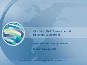 Chemical Risk Assessment Exposure Monitoring Qualitative Chemical Risk
