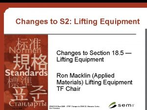 Changes to S 2 Lifting Equipment Changes to