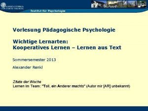 Vorlesung Pdagogische Psychologie Wichtige Lernarten Kooperatives Lernen Lernen