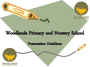 Woodlands Primary and Nursery School Presentation Guidelines The