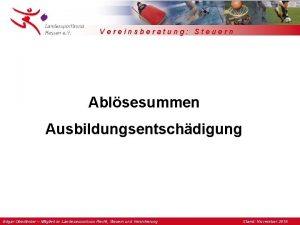 Vereinsberatung Steuern Ablsesummen Ausbildungsentschdigung Edgar Oberlnder Mitglied im