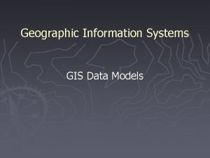 Geographic Information Systems GIS Data Models 1 Components